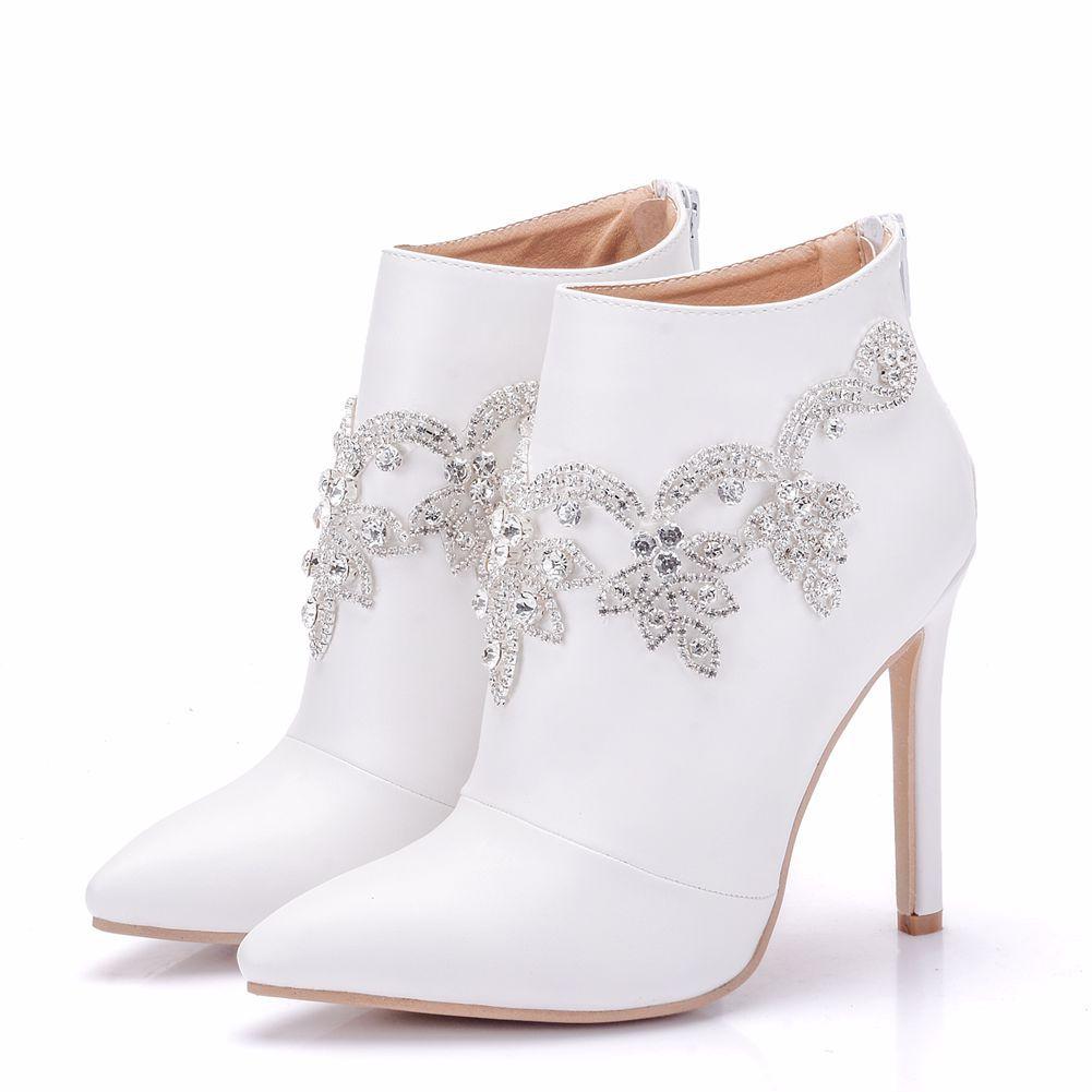 2019 señora Lovely Thin High Heel fiesta boda zapatos mujer blanco Rhinestone cuenta cristal moda botines zapatos XY-A0158
