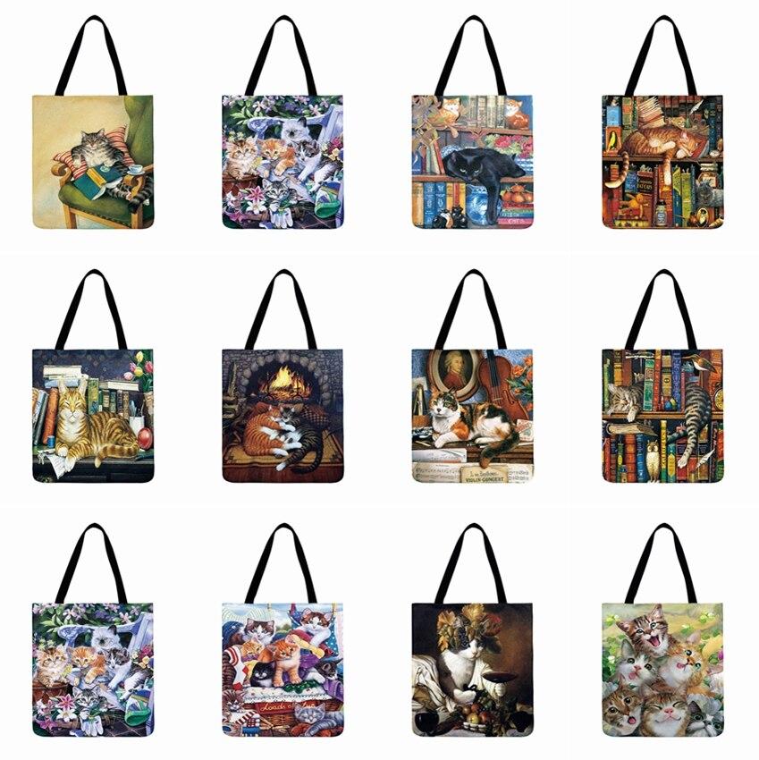 Bolso de compras reutilizable de lino para mujer, bolso de hombro con pintura al óleo de gato, bolso de playa exterior, bolso Casual