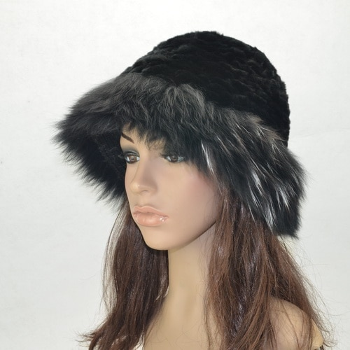 Sombreros de piel otoño invierno blanco nuevo color negro mujer sombreros de piel natural zorro/rex piel de conejo H5107
