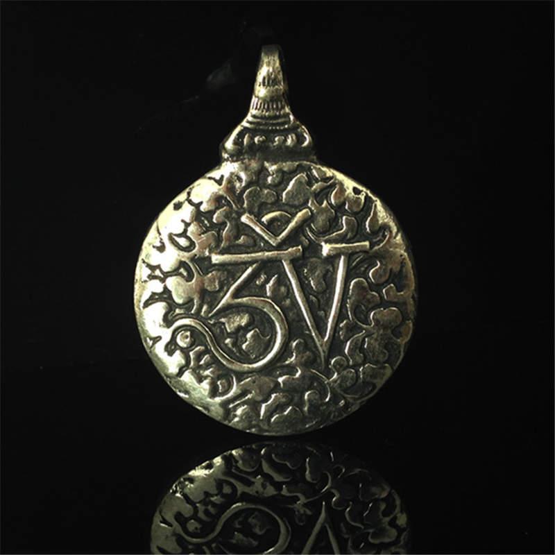 TBP053, amuleto tibetano de latón envejecido, colgante de cintura Taglotus tibetano Jiugong Bagua para hombre