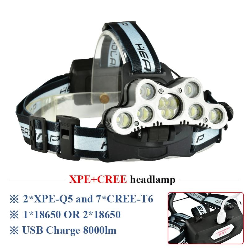 Linterna frontal súper brillante 9 LED CREE XML T6 usb recargable 18650 batería linterna frontal led de alta potencia