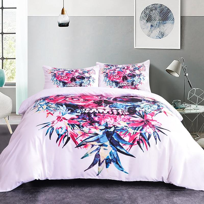 ZEIMON moda juego de ropa de cama con calavera hojas para el hogar Telas para Decoración juego de edredón 2/3 Uds ropa de cama Floral Textiles para el hogar con estilo