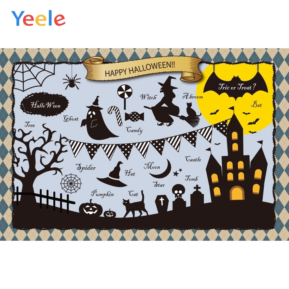 Yeele Halloween Moon Pumpkin Ghost Bat Castle Witch Photography Backdrops Personalized Photographic Backgrounds For Photo Studio