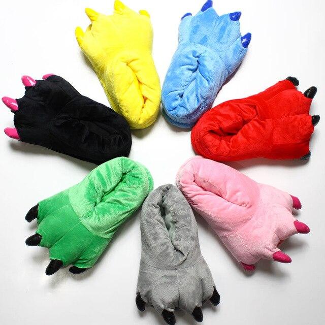 Детские зимние теплые пушистые тапочки-когти с рисунком динозавра; Мягкие плюшевые домашние тапочки кораллового цвета с миньонами; Детская обувь