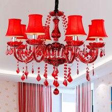 New Modern Red crystal chandeliers for Livingroom Bedroom weeding room indoor lamp K9 crystal lustres de teto ceiling chandelier