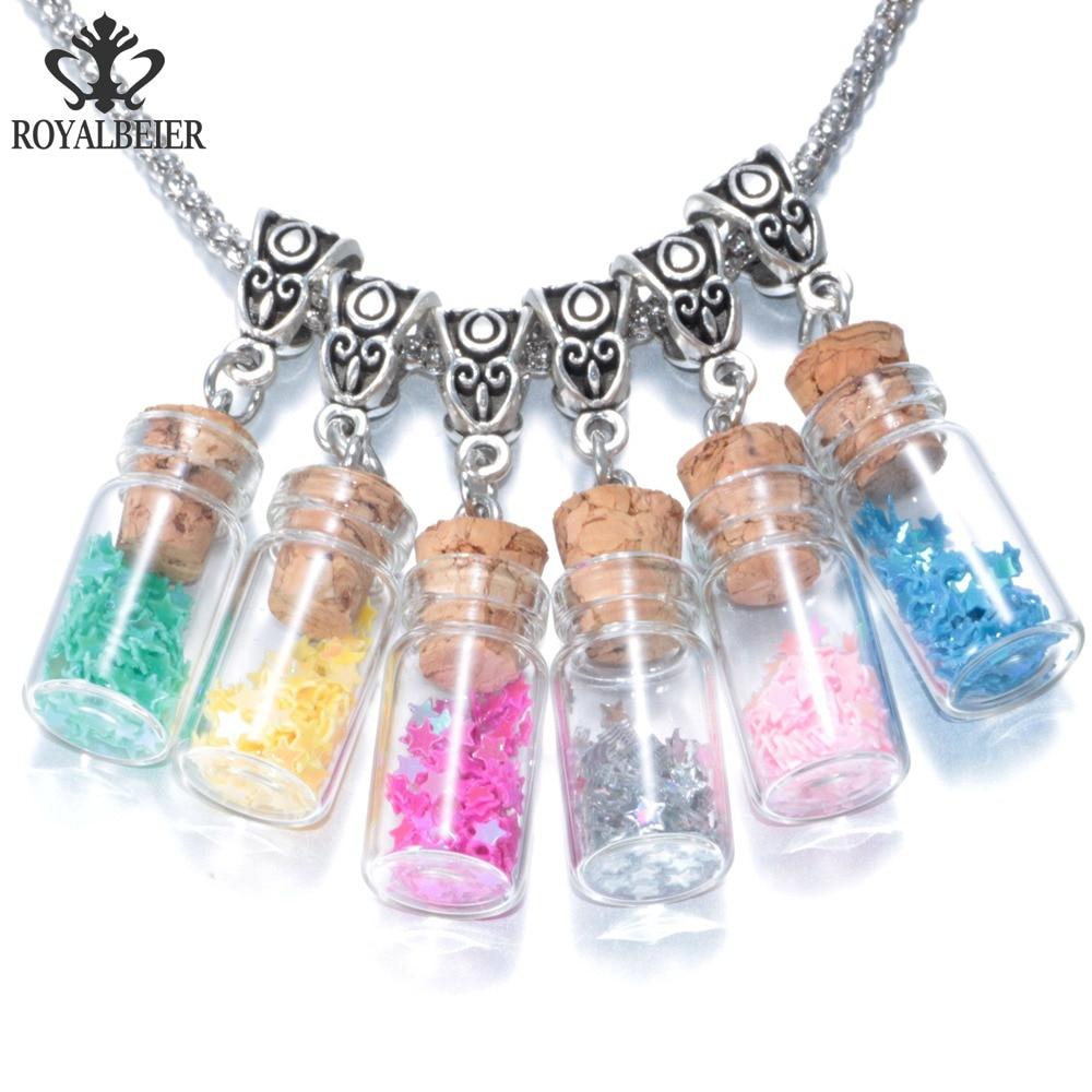 RoyalBeier 10pcs/lot Shining Lucky Stars Filler Drifting Bottle Glass Charms Necklace Pendant 2 Clasp Options