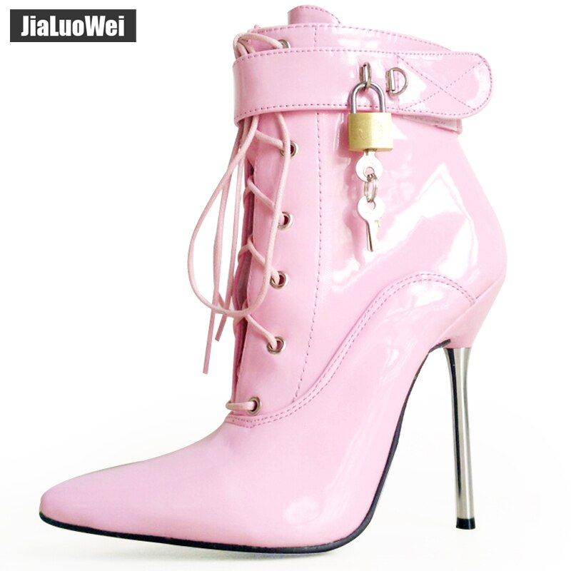 Jialuowei 2018 mujeres puntiagudos tobillo bota con tirantes Lady Cross-tied 12C Metal fino tacones altos Sexy fetiche candados botas bloqueables