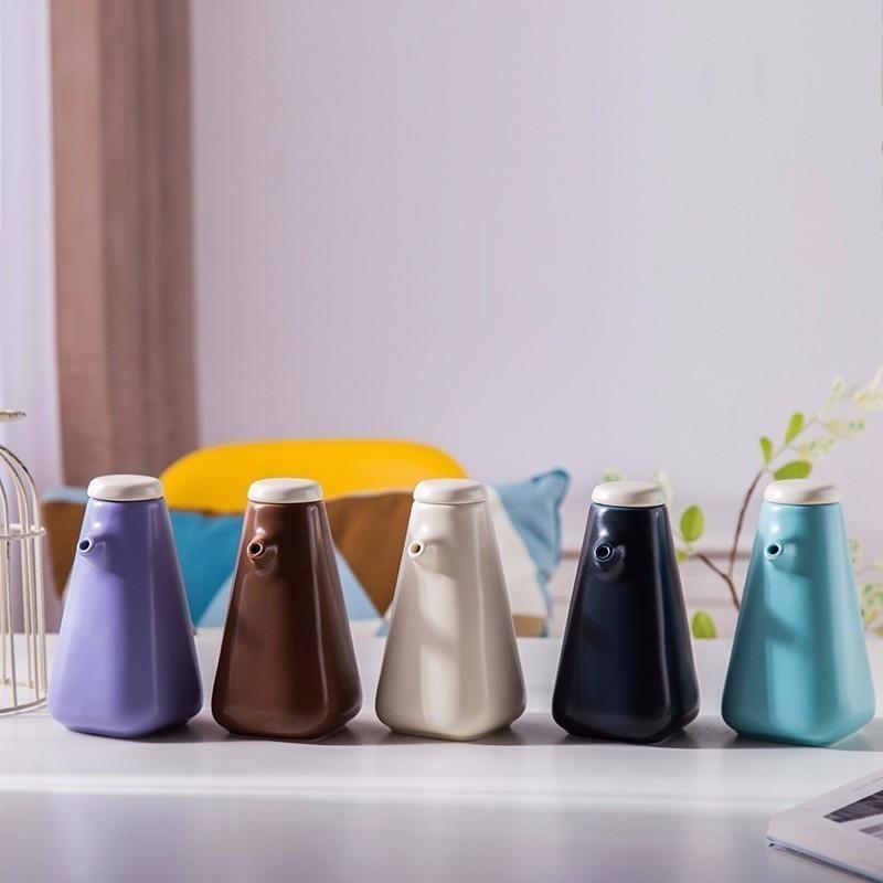 Olla de almacenamiento de sabor de cerámica de cocina de estilo japonés, bote para almacenamiento de salsa de soja, botella para condimento de aceite, vinagre, tarros de almacenamiento de porcelana para especias