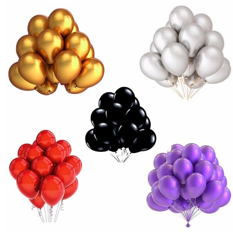 30 Uds 12 pulgadas de plata de oro rosa negro metálico de látex globos Decoraciones para boda mate de globos de helio cumpleaños decoración de fiesta de niños