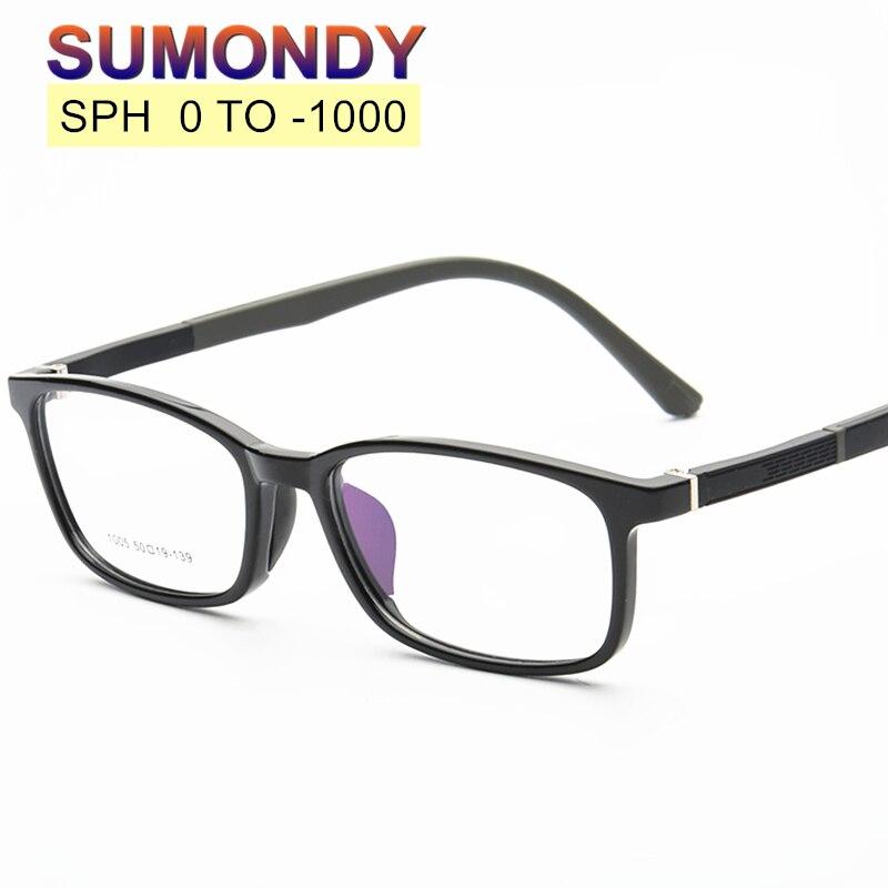 SUMONDY SPH 0 to -10 Myopia Glasses Customized Men Women Fashion Upscale TR90 Frame Prescription Spe