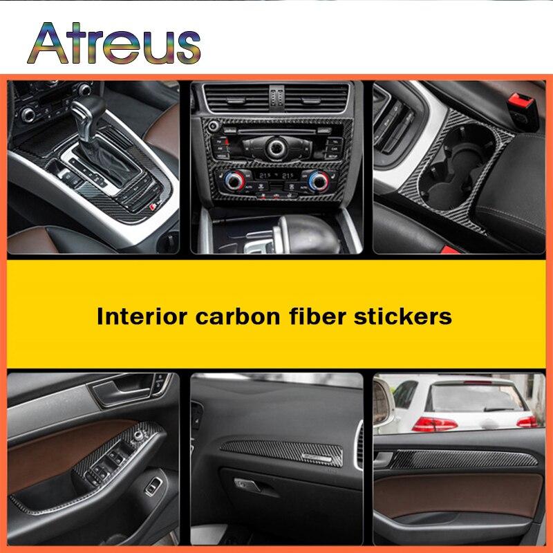Atreus, 1 Juego, interruptor de soporte para taza con estilo para coche, pegatinas para molduras interiores de fibra de carbono para Audi A4 B6 B8 B7 B5 A5 Q5, accesorios