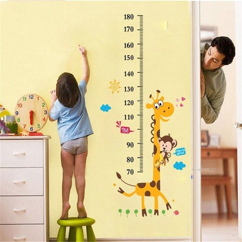 Height measuring wall stickers cartoon pink little girl wall decals children baby room kindergarten decorative stickers
