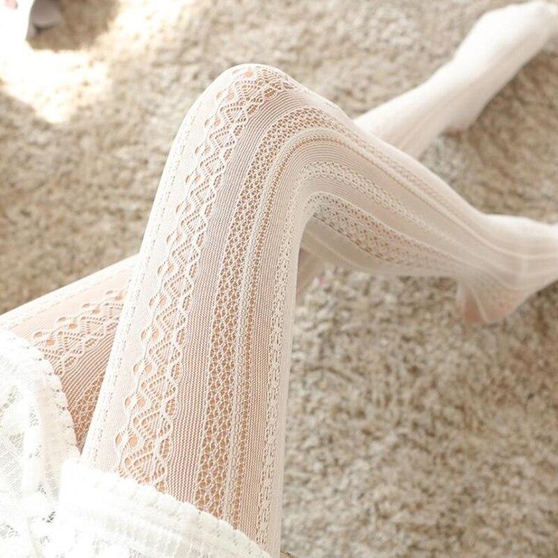 Doce lolita listra náilon meias femininas sexy fina meia-calça branco fishnet meias femininas calças altas vestido