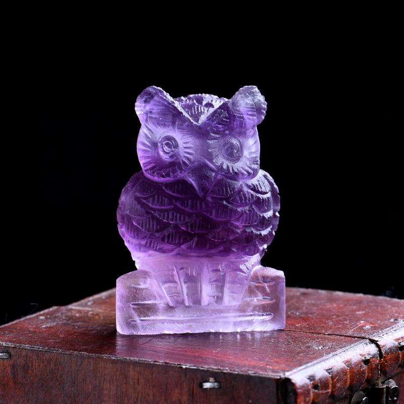 1 unidad de joyería mineral de cristal de fluorita natural con diseño de búho, decoración de hogar familiar para pájaros, felicidad, sabiduría, regalo DIY