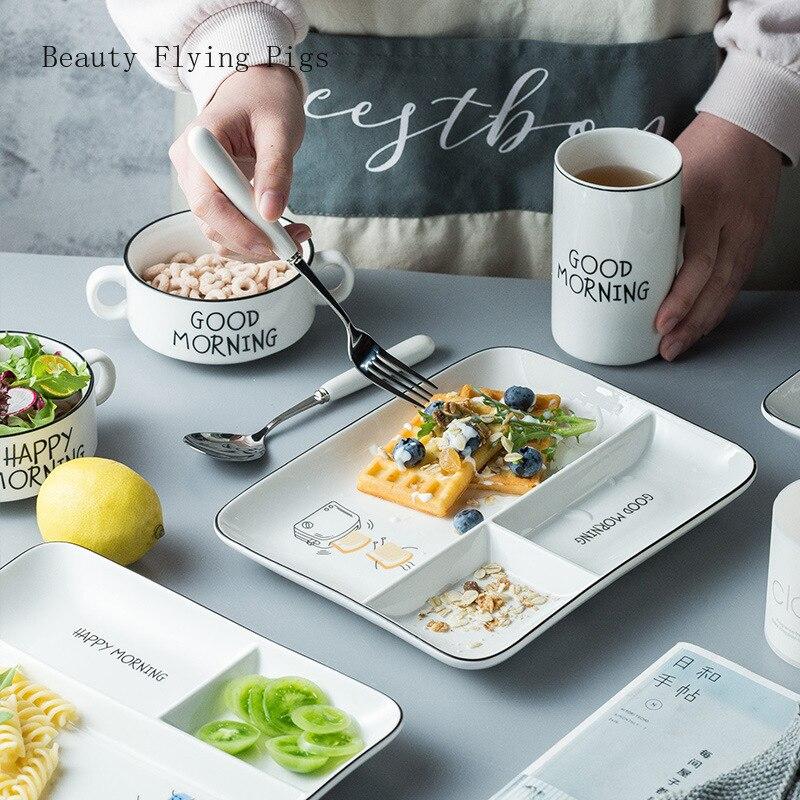 Vajilla de cerámica combinación habitación hotel plato de desayuno traje de cinco piezas Placa de jardín de infantes envío gratis