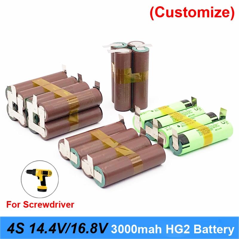 Batteria 18650 hg2 3000mAh 20amps per 14.4v 16.8v cacciavite batteria di saldatura di saldatura striscia di 4S 4S2P 16.8v battery pack (personalizza)