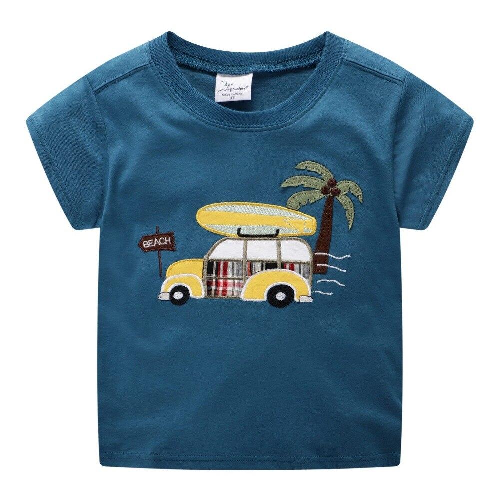 2019 New Brand Summer 2-7 years baby Kids boys cartoon Embroidery Beach bus car Short O-neck Quality Cotton t-shirts Tops shirt