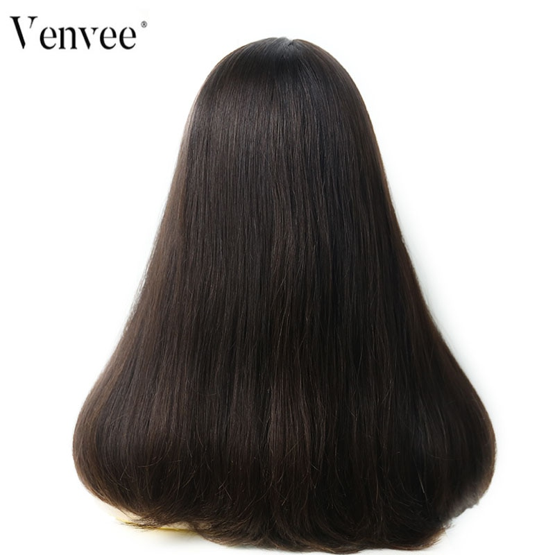Jewish Wig European Remy Hair Lace Front Human Hair Wigs Straight Silk Base 4# Color Kosher Wig Pre Colored Bob Style Venvee