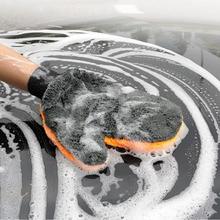 Gants de lavage de voiture en microfibre épaisse   1 pièce, fournitures de nettoyage de moto de voiture, brosse absorbante forte, serviette de détail