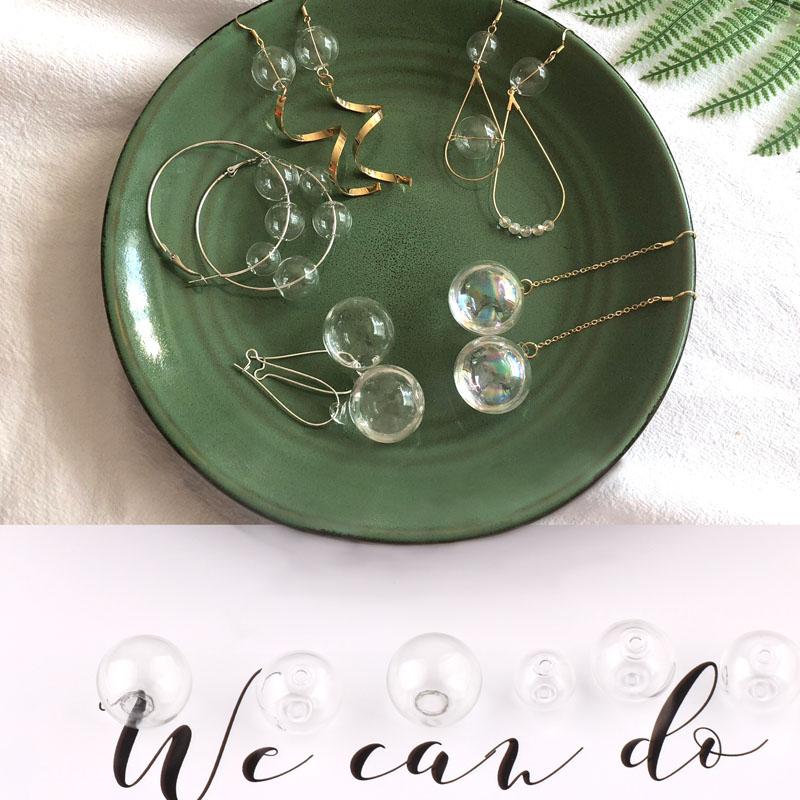 Diy accessories transparent bubble double hole hollow glass earrings pendant  no water