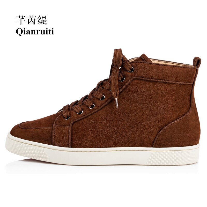 Qianruiti 2019 الخريف الشتاء الجلد المدبوغ عالية أعلى أحذية رياضية الدانتيل متابعة الأحذية المسطحة الرجال المدرج Chaussures أرض الإنسان زائد Size39-47