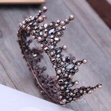 Vintage Barocco Tiara Vintage Perline Geometriche Diademi Corone Hairband Reale queen Della Fascia per le Donne Festa Di Natale Dei Monili Dei Capelli