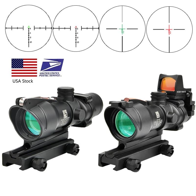 Trijicon ACOG 4X32 Real Fiber Optics Red Dot Illuminated Chevron Glass Etched Reticle Tactical Optical Scope Hunting Optic Sight