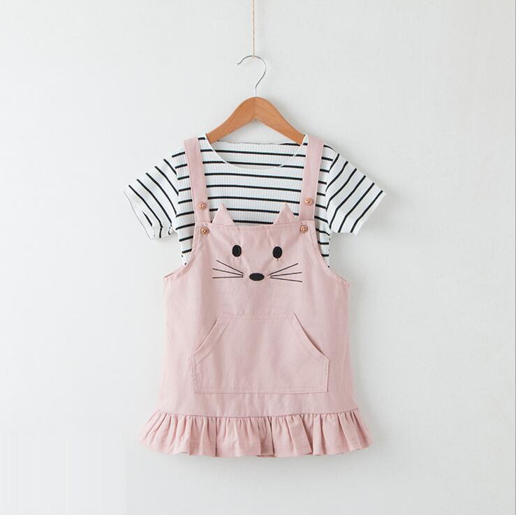 Conjuntos de ropa para niñas princesa verano rayas Casual camisetas niños bordado personaje gato vestido niños ropa 5 set/lote