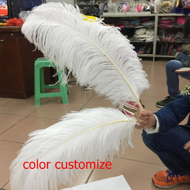 Plumas de pluma blanca avestruz para pluma de costura accesorios de carnaval (45 cm-50 cm) color personalizado