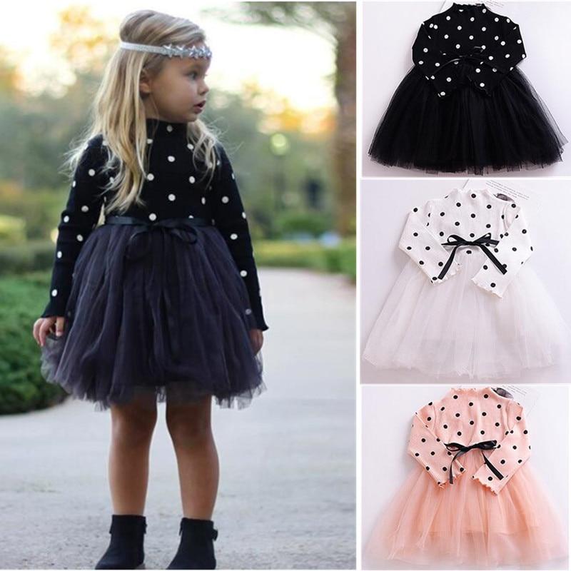 Новая модная весенняя одежда для маленьких девочек, платье в горошек для новорожденных, платье-пачка для детей черного, розового, белого цветов, милый костюм для девочек