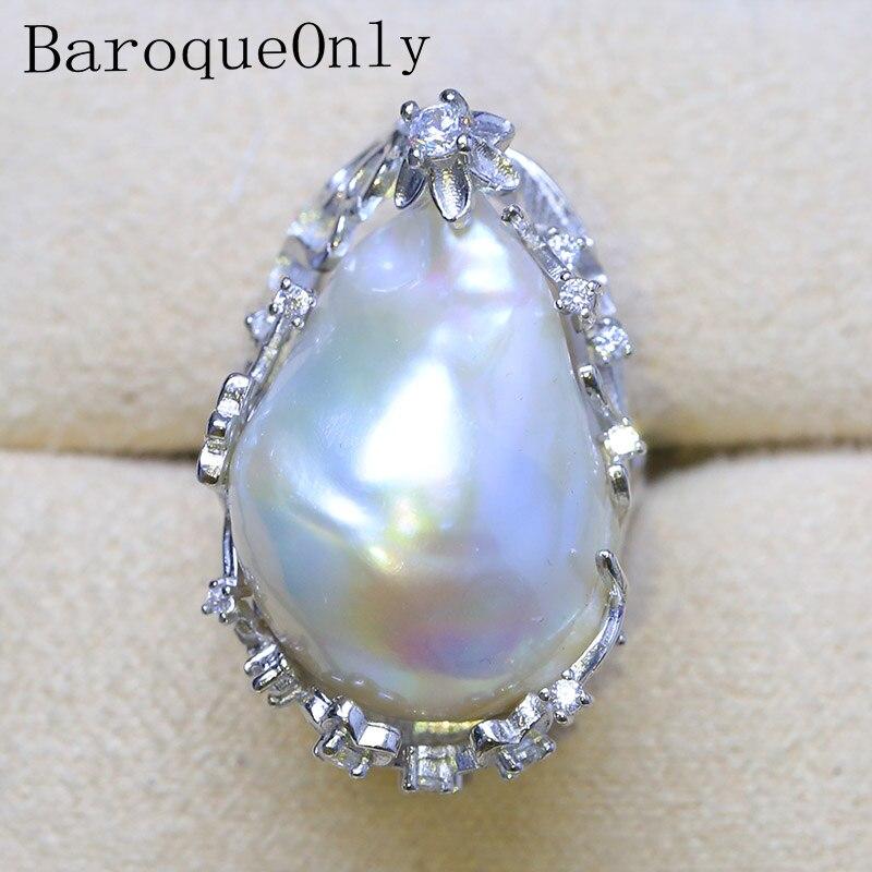 BaroqueOnly 2018 impresionante anillo grande de perlas cultivadas de agua dulce barrocas blancas de 20-27mm envío gratis joyería de moda para mujer RH