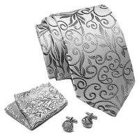 mens tie grey floral 100 silk classic jacquard woven tie hanky cufflinks set men formal wedding party extra long size neck suit