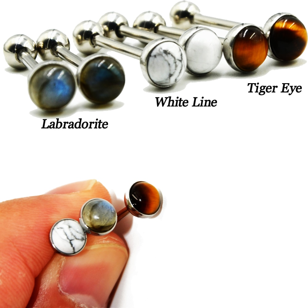 1 pçs aço cirúrgico labradorite tigre olho anel linha branca pedra língua barbell anel corpo piercing jóias