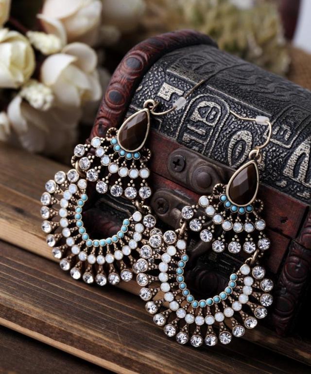 Pendientes colgantes grandes a la moda para mujer, de lujo, bohemios, oro, Multicolor, diamantes de imitación y cuentas de resina, Pendientes colgantes Vintage