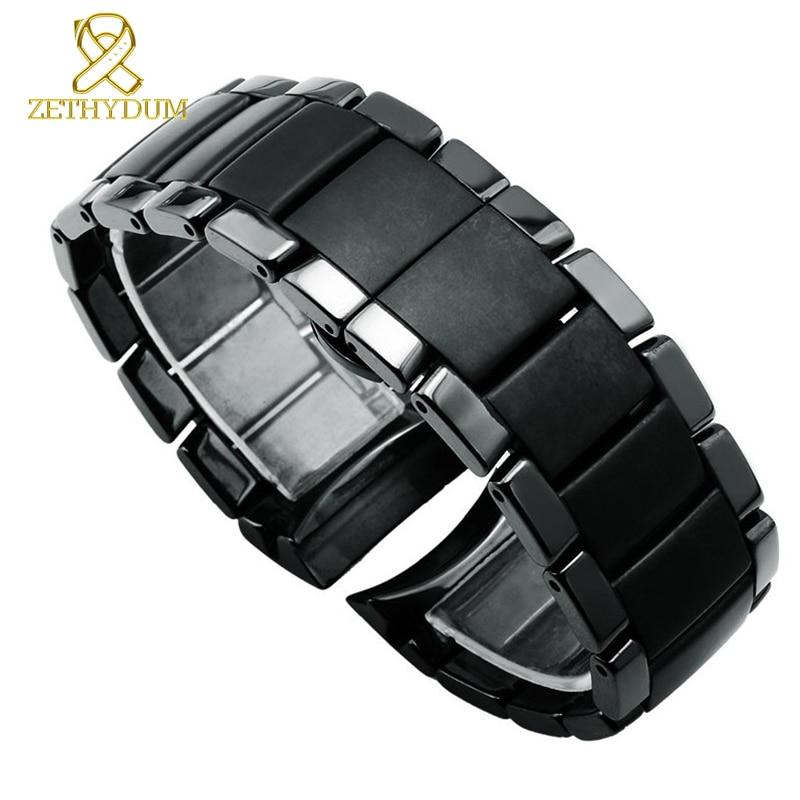 Керамический ремешок для часов матовый ремешок черный браслет наручные часы ремешок 22 24 мм Бабочка Пряжка Чехол для часов ремень для AR1451 ...
