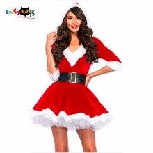 Nouveauté robe de noël femmes Costume de noël pour adulte 2017 rouge velours fourrure robes à capuche Sexy femme père noël Costume