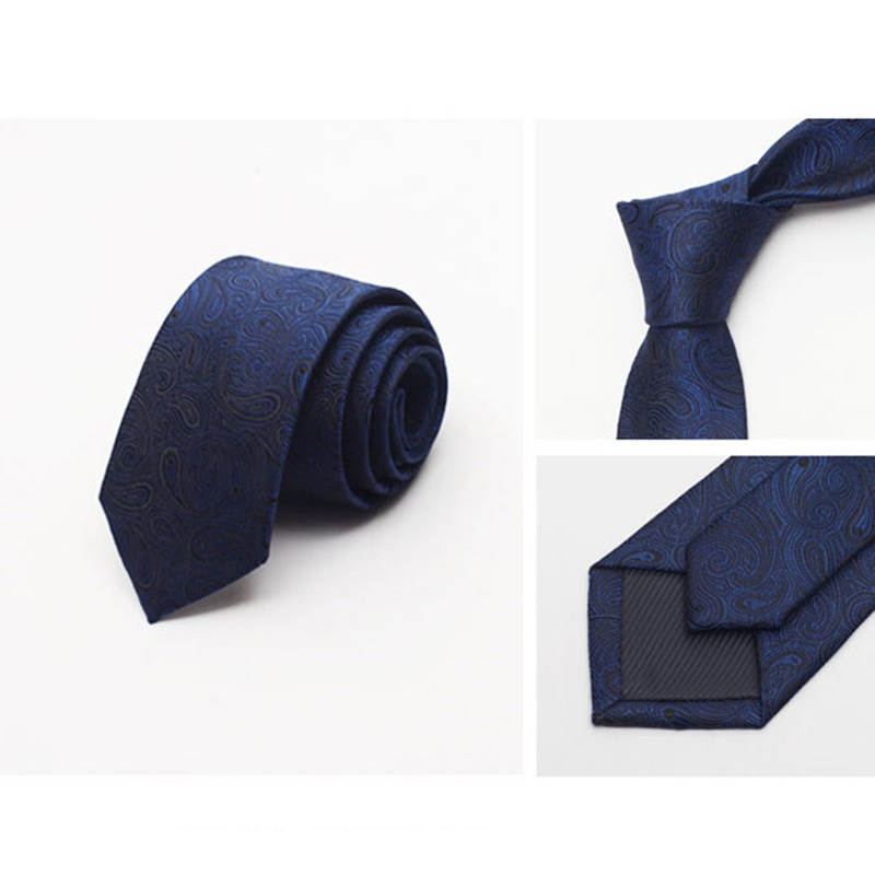 2019 New 8cm High Quality Men Tie Solid Color Print Neckties Fashion Wedding Business Party Ties For Men Blue with Gift Box
