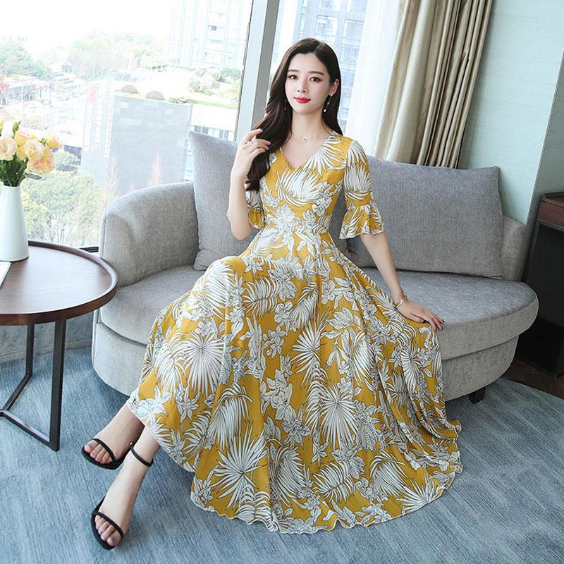 Yfashion mujeres verano cintura media gran dobladillo Delgado Floral impreso vestido largo Simple Natural verano chica vestido de alta calidad