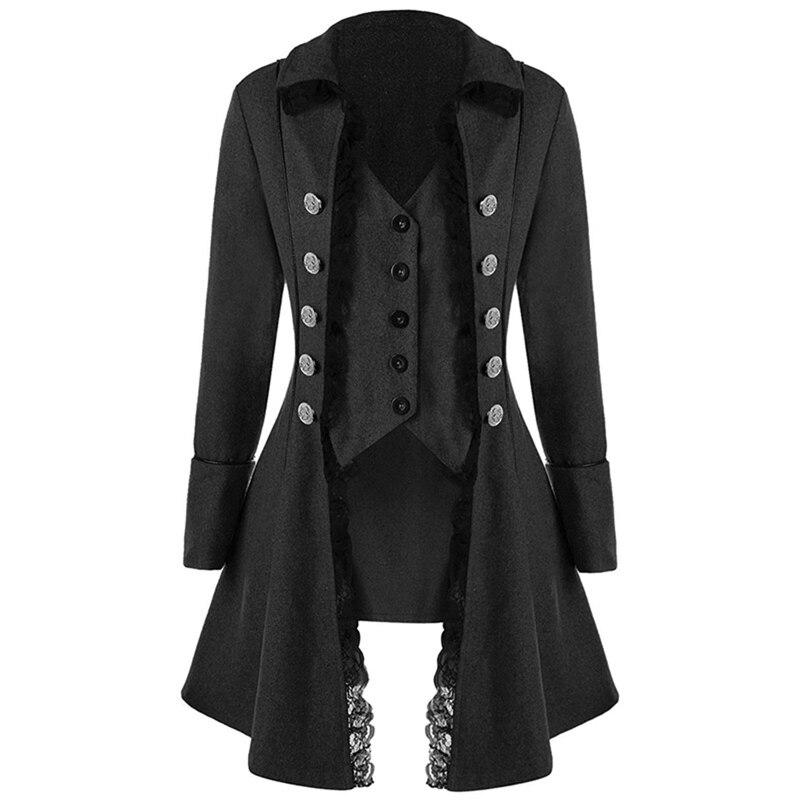 Retro mujeres Tops de encaje botón decoración Vintage manga larga victoriano gótico corsé Rock las mujeres Cosplay Steampunk chaqueta