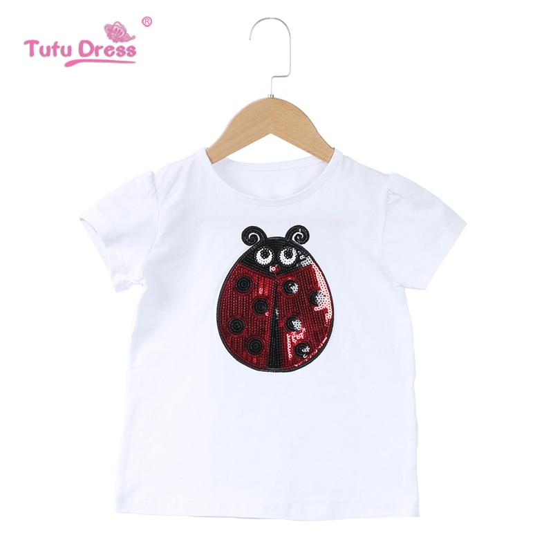 Camiseta de dibujos animados para niña, camisetas de manga corta de mariquita, ropa de bebé 100% algodón, camisas de verano para niños, Ropa para Niñas 9 10 años
