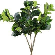 20pcs Fake Ficus Lyrata Leaf Branches Simulation Green Ficus lyrata Leaf Tree Stems Greenery Decorative Artificial Green Plant