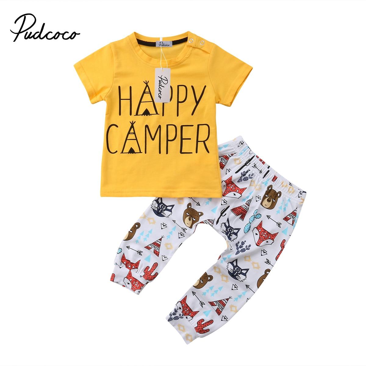 2018 מותג חדש בעלי חיים יילוד תינוקות בייבי לפעוטות בנים ילדה צמרות חולצה Happy Camper קיץ סט תלבושת מכנסיים 2 יחידות בגדים