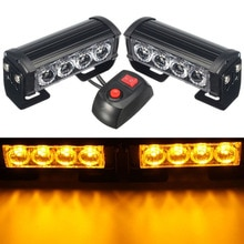 HEHEMM 8 LED Strobe Warning Light Flashing Lamp for Truck Car Dashboard 12V DC Amber Red White