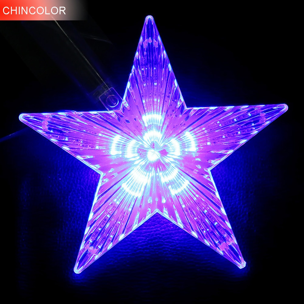 Holiday lights Huge Meteor five-pointed star Led Light string 23cm EU Plug Xmas christmas wedding valentine Day fairy decor CF