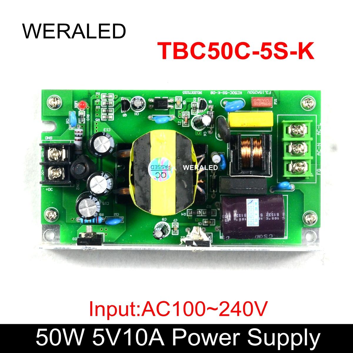 Precio de fábrica 5V 10A 50W LED pantalla de la fuente de alimentación AC110V/220V, funciona para P4.75/P4/P5/P7.62/P10 Módulo De Pantalla LED