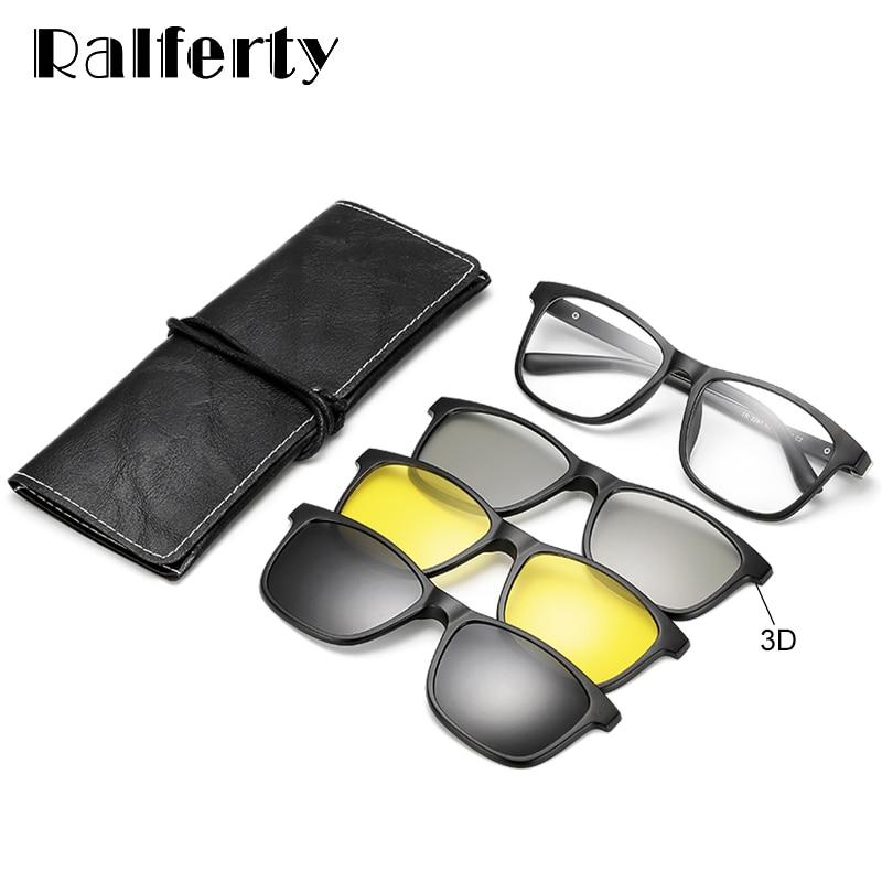 Ralferty Multi-Function Magnetic Polarized Clip On Sunglasses Men Women TR90 3D Yellow Night Vision