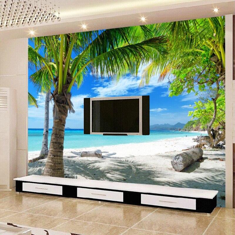 Papel pintado Mural personalizado playa cocotero Grove sala De estar sofá TV Fondo paja Papel tapiz Papel De pared decoración del hogar