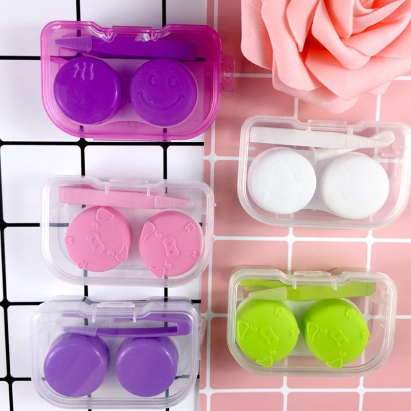 Caja de lentes de contacto, estuche portátil de viaje transparente, contenedor de almacenamiento, objetivos