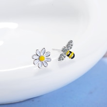 Todorova Cute Tiny Asymmetric Honey Bee Earrings Sun Flower Rhinestones Stud Earrings for Women Pend