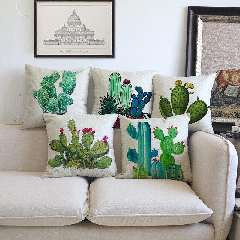 Almohada decorativa de lino de 18 pulgadas para el hogar con diseño de Cactus, cojines para sofá o silla de estilo nórdico europeo con diseño de plantas en macetas pintadas a mano